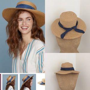 Summer & Rose Big brim hat with blue ribbon